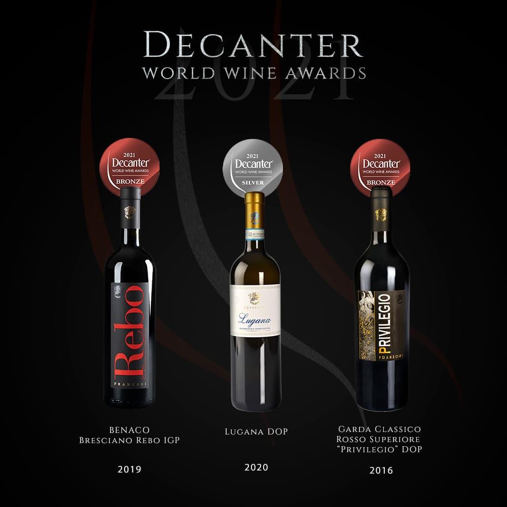 Cantine Franzosi - Decanter World Wine Awards 2021 - Premiati Lugana, Privilegio e Rebo